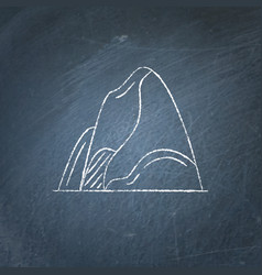 Mountain icon on chalkboard vector