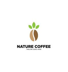 Natural coffee logo template vector
