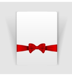 Nice red bow on the card vector image
