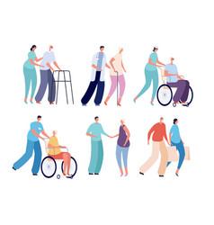 Old people nursing smiling volunteers care vector