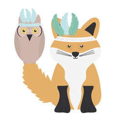 Owl bird and fox with feathers hats bohemian style vector