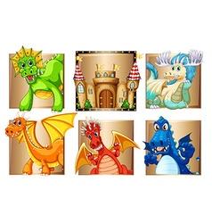 Palace and many dragons vector