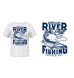 Pike on rod line t-shirt print template vector