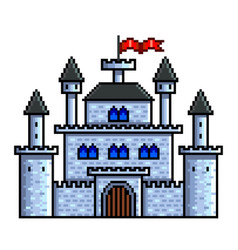 Pixel old castle detailed isolated vector