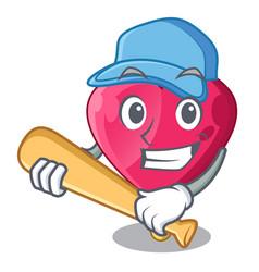playing baseball chocolate heart on ice cream vector image