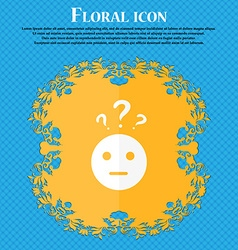 question mark and man incomprehension icon Floral vector image