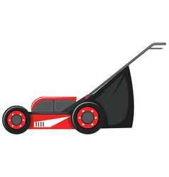 Red lawnmower on white background vector