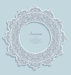 Round frame with lace border pattern vector