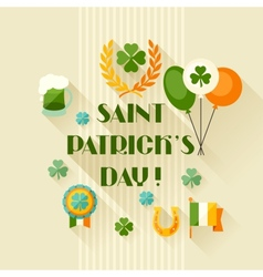 Saint Patricks Day greeting card in flat design vector image