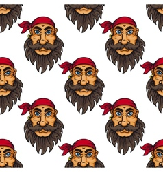 seamless pattern a bearded pirate or sailor vector image