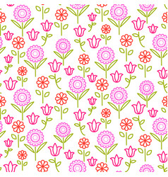 seamless pattern with bright line flowers vector image
