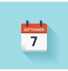 September 7 flat daily calendar icon vector