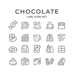 set line icons chocolate and cacao vector image