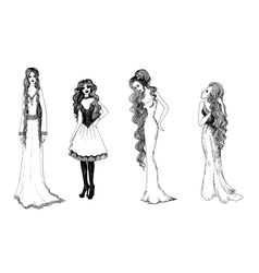 Set of black and white fashionable girls sketches vector image