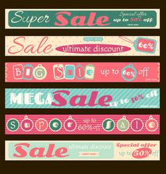 set of horizontal super sale discount banners vector image