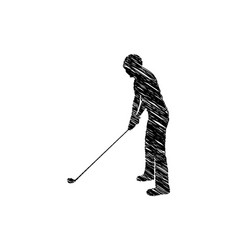 silhouette drawing man playing golf vector image