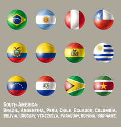 south america round flags vector image