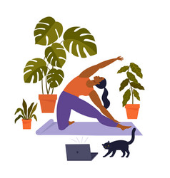 Sport exercise at home woman doing workout indoor vector