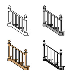 Stairs icon in cartoon style isolated on white vector