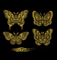 stylized golden butterflies on black background vector image