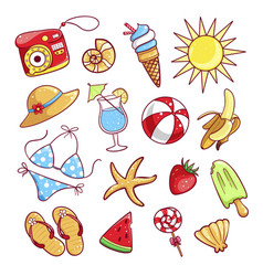 summer cute icon set vector image
