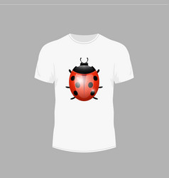 t-shirt with a picture of ladybug vector image