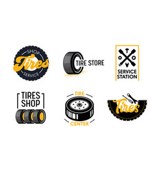 tires shop and services icons set poster with car vector image