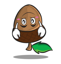 upside down acorn cartoon character style vector image