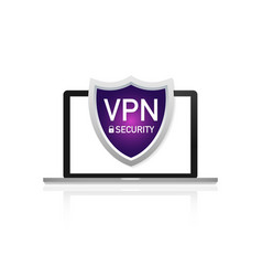 Vpn safety shield sign on laptop screen on white vector