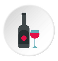 wine and glass icon circle vector image