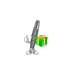With gift icon black ballpoint with cartoon vector