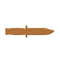 wooden training knife isolated knife board on vector image