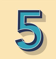 Letter 5 retro text style fonts concept vector