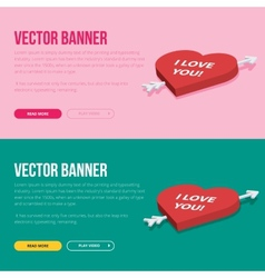 Set of 2 love banners for web development vector image vector image