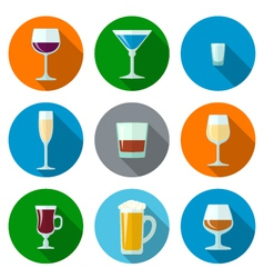 set of flat design alcohol glasses icons vector image vector image