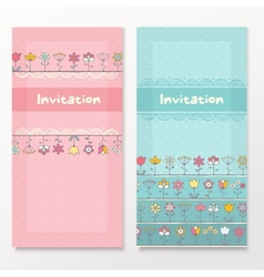 Baby shower cards with funny flowers vector image vector image
