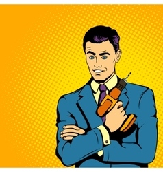 Businessman with drill comics style vector image