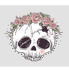 Cute tattoo style skull vector image