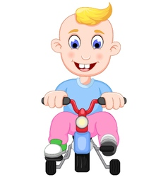 funny baby cartoon playing bicycle vector image