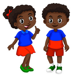 haiti boy and girl with happy face vector image vector image