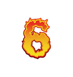 number 6 fire flames font six tattoo alphabet vector image vector image