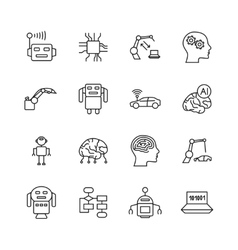 Artificial intelligence AI line icons Robot vector image
