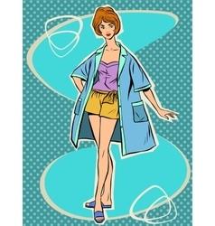 Beautiful girl in retro summer pajamas vector