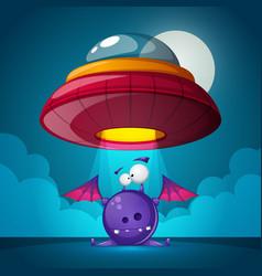 Cartoon characters horror ufo vector