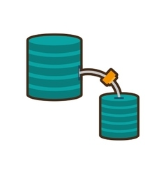 Cartoon data center information digital connection vector
