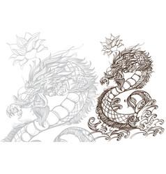 contour image of dragon zodiac animal sign vector image vector image