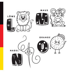 deutsch alphabet lion mouse stylus orange vector image vector image