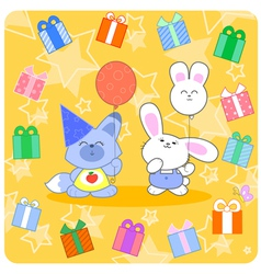 Happy birtday with cute animals and gifts vector image vector image