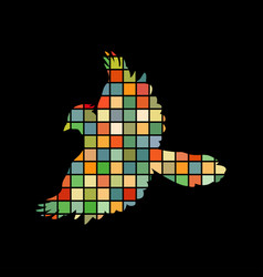 jay bird mosaic color silhouette animal background vector image