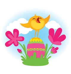 Singing Easter chick vector image